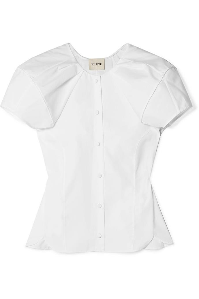 "**6. Summer Staple** <br><br> A short sleeve and cinched waist bring the look into warm weather—wear it with denim cut-offs and leather slides. <br><br> Top, $592, Khaite at [Net-A-Porter](https://www.net-a-porter.com/au/en/product/1039360/khaite/tanya-gathered-cotton-poplin-blouse|target=""_blank""