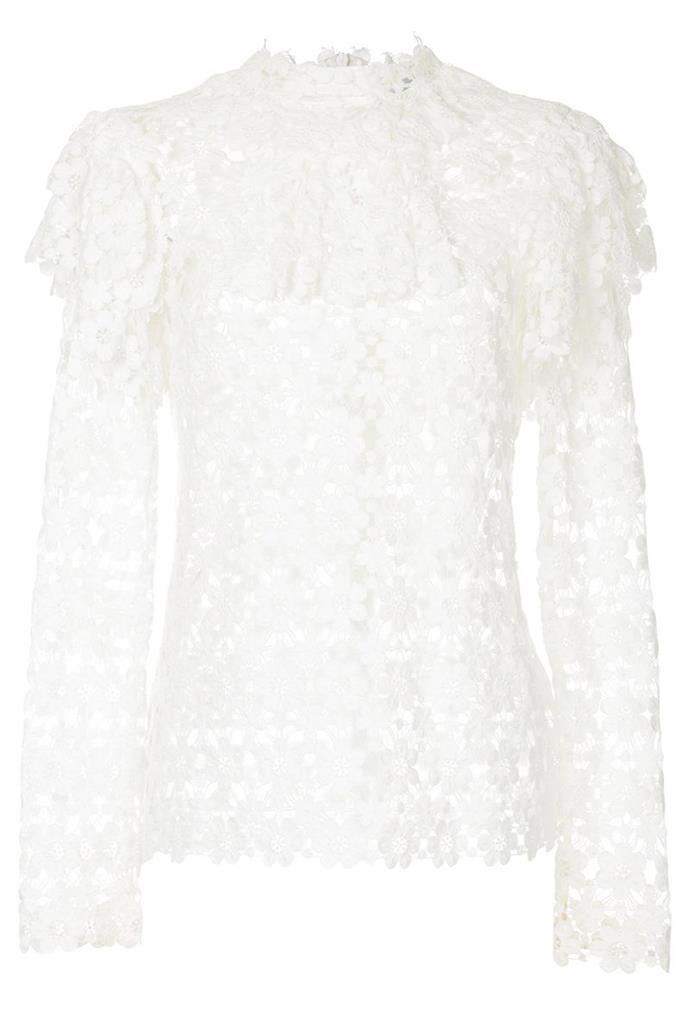 "**8. For The Love Of Lace** <br><br> This ultra-pretty shirt can work for evening with a silk maxi skirt, or hit your favourite brunch spot worn with wide-leg jeans. <br><br> Top, $695, Macgraw at [Farfetch](https://www.farfetch.com/au/shopping/women/macgraw-floral-lace-frill-top-item-12653710.aspx|target=""_blank""