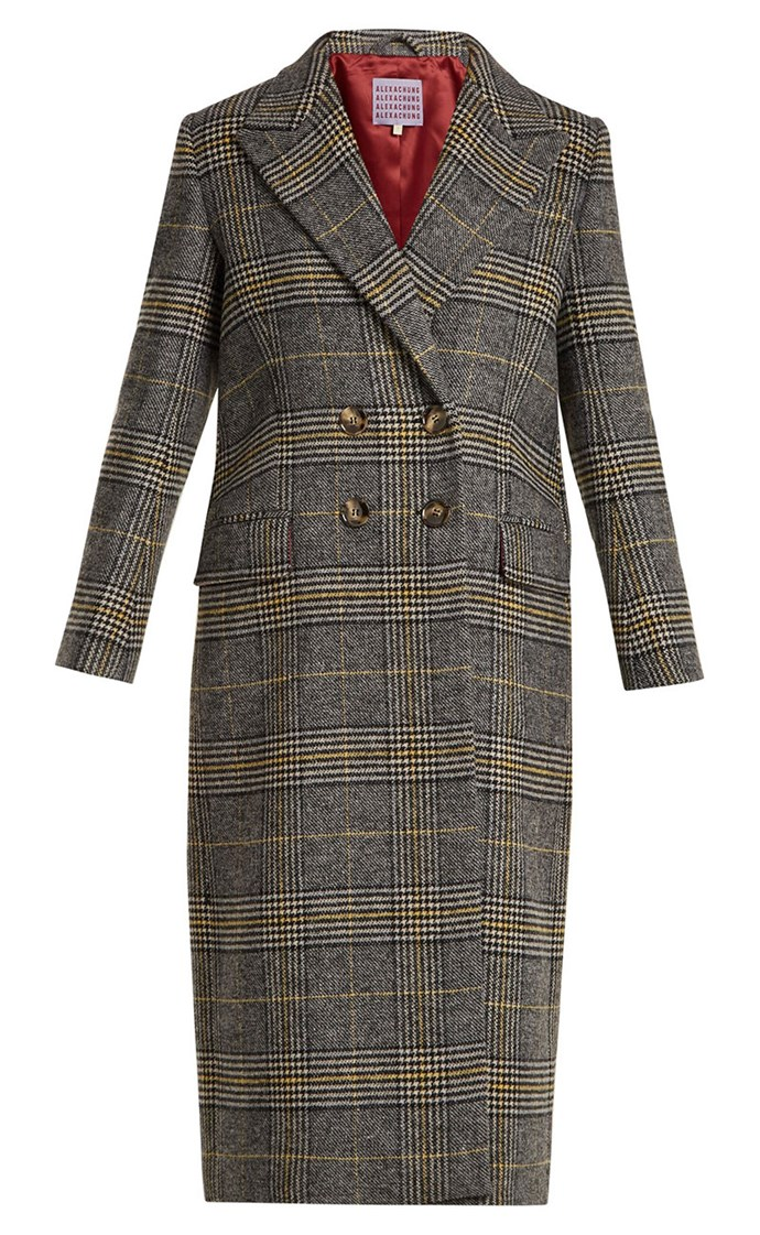 "Coat, $930, Alexa Chung at [Matches Fashion](https://www.matchesfashion.com/au/products/Alexachung-Long-double-breasted-checked-coat-1185655|target=""_blank""