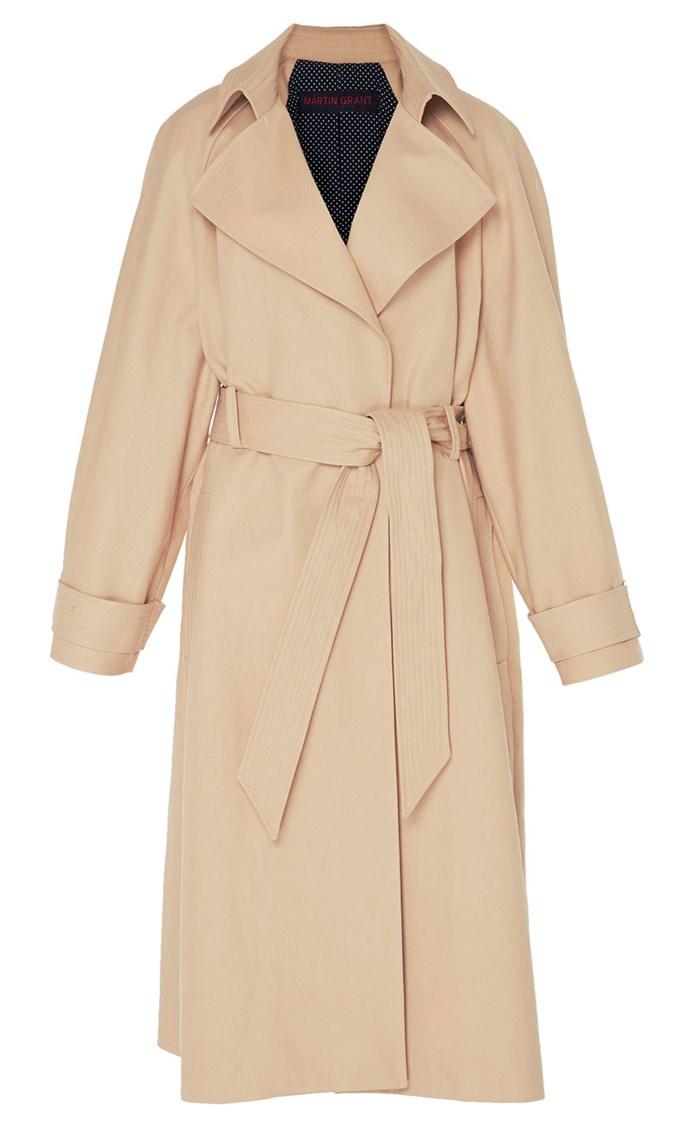 "Coat, $2,490, Martin Grant at [Moda Operandi](https://www.modaoperandi.com/martin-grant-r18/stitched-trench-coat|target=""_blank""|rel=""nofollow"")"