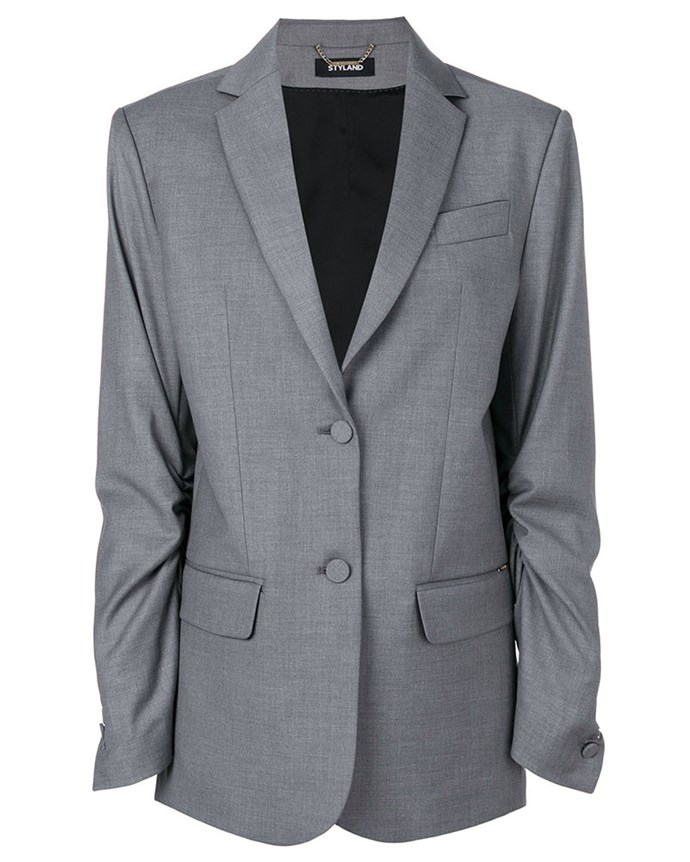 "Blazer, $1,011, Styland at [Farfetch](https://www.farfetch.com/au/shopping/women/styland-double-button-blazer-item-12616361.aspx?storeid=9421&from=listing&tglmdl=1|target=""_blank""|rel=""nofollow"")"