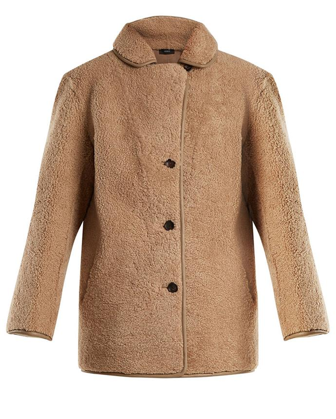 "Coat, $1,919, Joseph at [Matches Fashion](https://www.matchesfashion.com/au/products/Joseph-Holm-rounded-collar-shearling-jacket-1183572|target=""_blank""