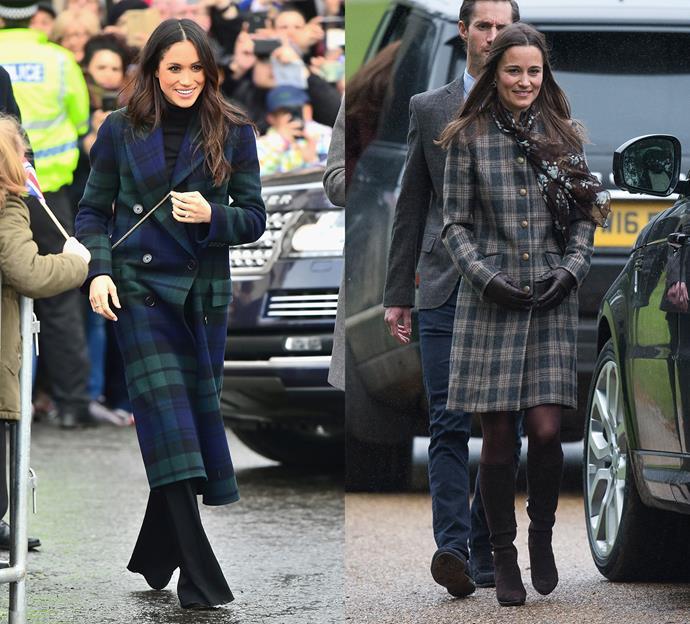 Meghan and Pippa wearing tartan coats.
