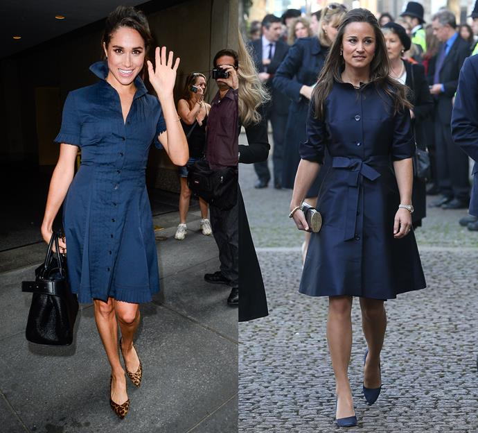 Meghan and Pippa wearing navy blue buttoned dresses.