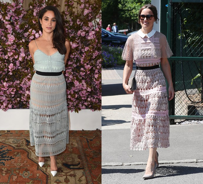 Meghan and Pippa wearing pastel Self-Portrait dresses.