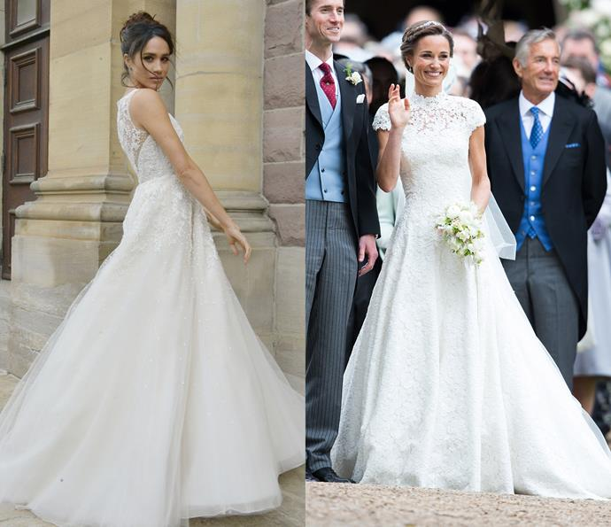 Meghan pictured in her *Suits* wedding dress; Pippa Middleton's wedding dress in 2017.
