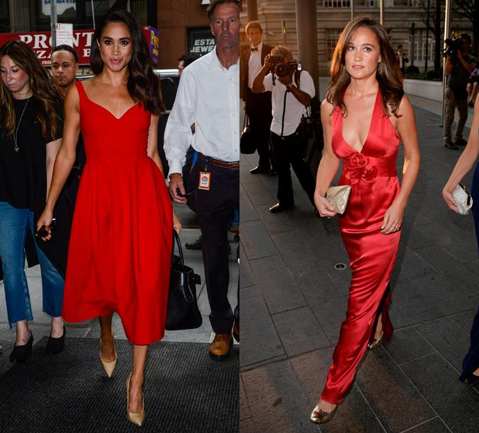 Meghan and Pippa wearing red.