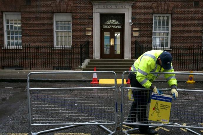 Barriers go up outside St Mary's Hospital