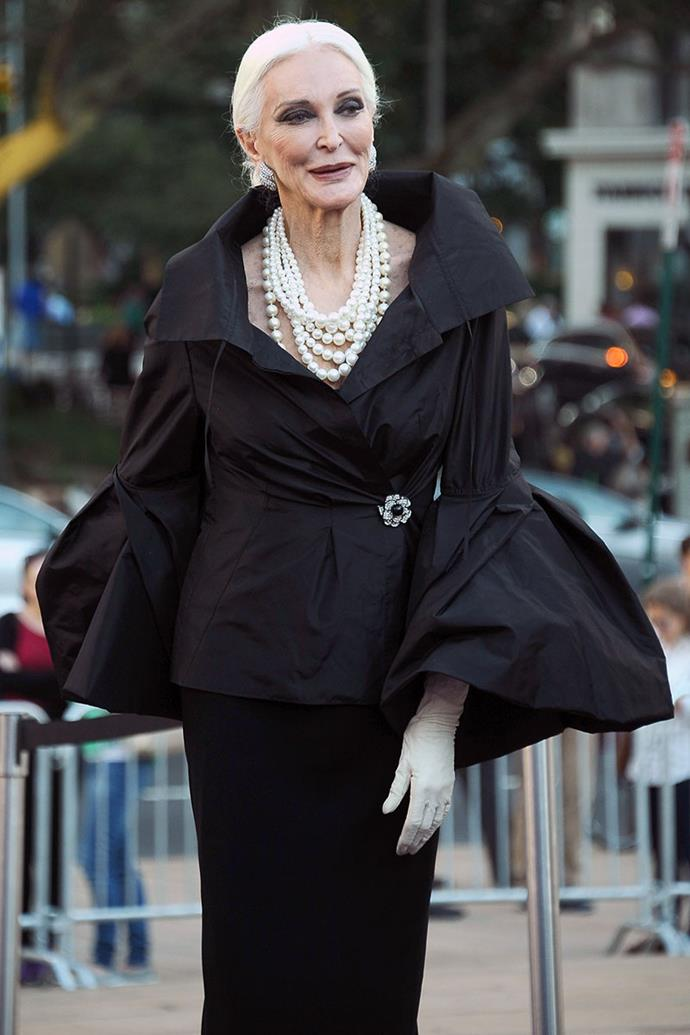 **Carmen Dell'Orefice**, *88* <br><br> A fashion icon in her own right, Carmen Dell'Orefice is famously known in the fashion industry for being the world's oldest working model. Gracing the cover of magazines from age 15, the American supermodel is simply elegance personified. Favouring a Chanel-like sense of style, Dell'Orefice is all about sporting chunky accessories and exaggerated silhouettes.