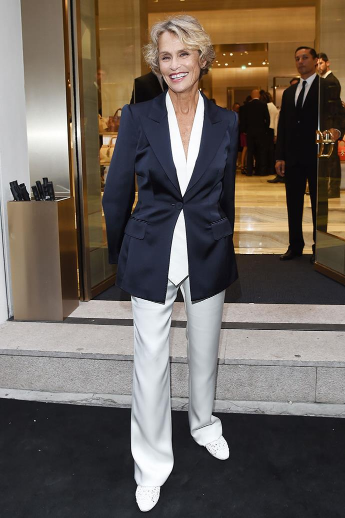 **Lauren Hutton**, *76* <br><br> Coined as the 'original supermodel', Lauren Hutton's esteemed career saw her earning the largest figure in modelling history. However, she refused to let age define her after she was dropped from a brand for her age, despite only being 41-years-old. She has since spent her career campaigning for wider use of older models, with her own style reflecting her reasoning. Impeccable tailoring and neutral tones have Hutton keeping on trend.