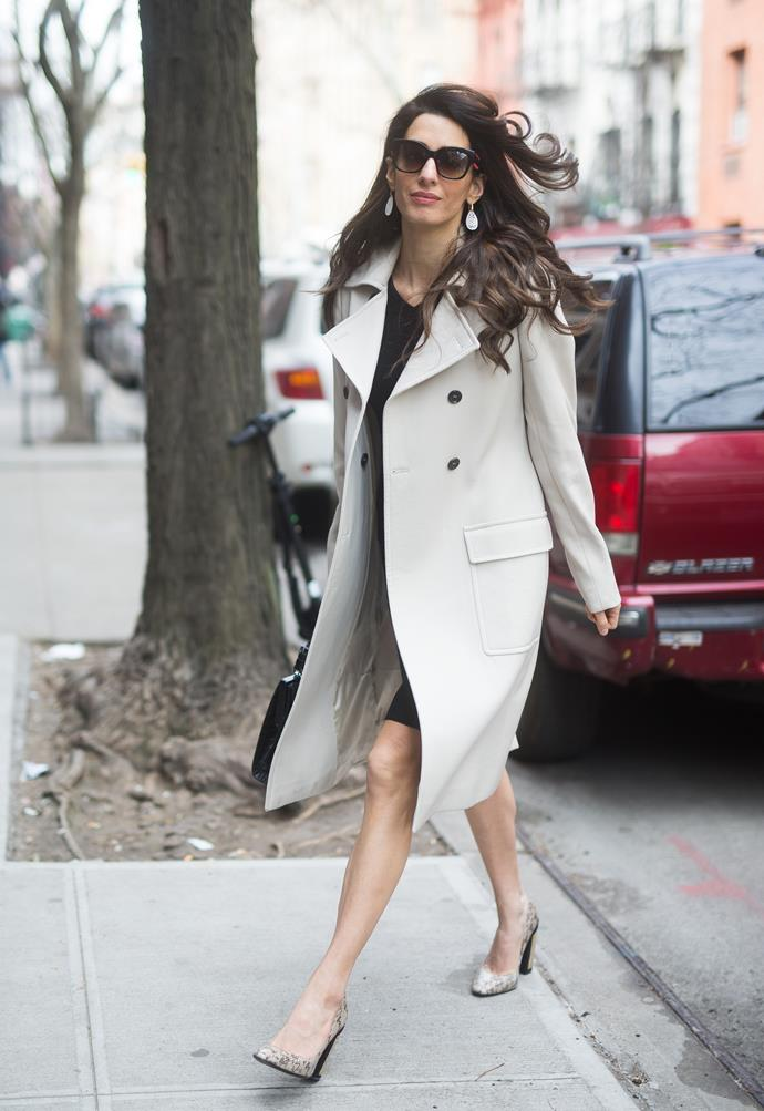 **What:** A black shift dress, trench coat and snakeskin heels. <BR><BR>  **When:** April 9th, 2018 <BR><BR>  **Where:* Out in New York City