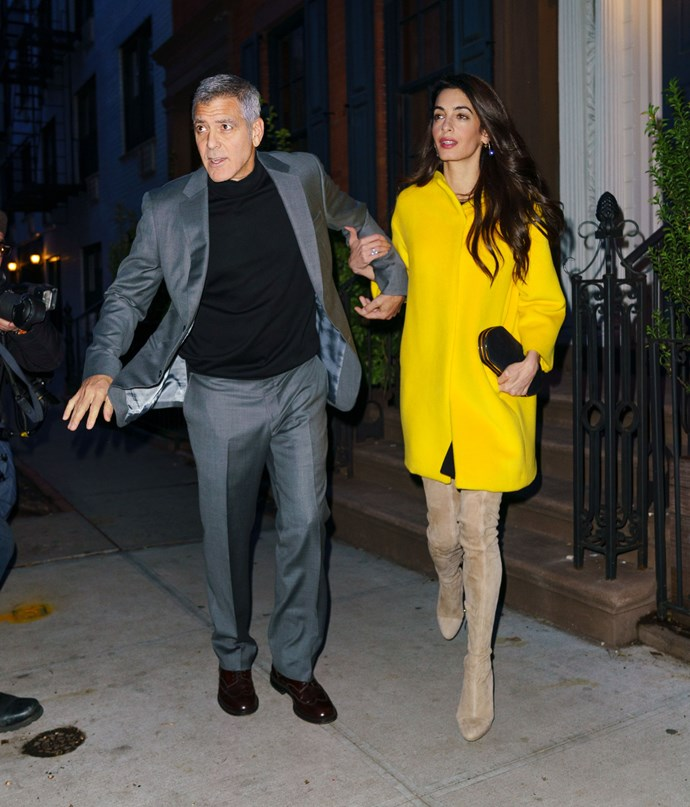 **What:** A yellow Lanvin coat, Hunting Season clutch and Balmain boots <BR><BR>  **When:** April 6th, 2017 <BR><BR>  **Where:* Out in New York City with husband George Clooney