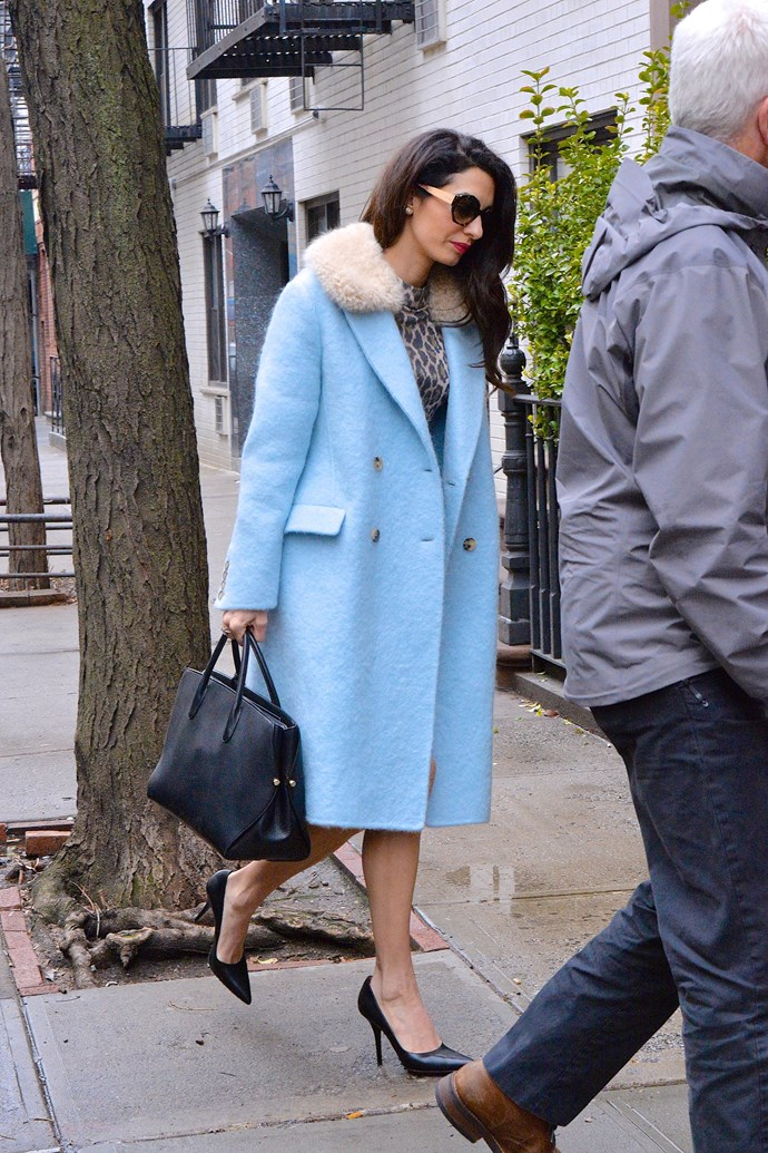 **What:** A ERMANNOSCERVINO coat, a leopard print dress, a Dior handbag and Givenchy heels. <BR><BR>  **When:** April 6th, 2018<BR><BR>  **Where:* New York City
