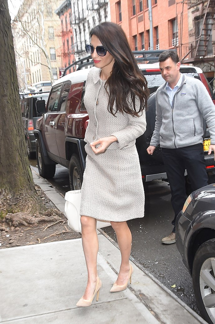 **What:** A Chanel suit and Jimmy Choo heels. <BR><BR>  **When:** March 29th, 2018 <BR><BR>  **Where:* New York City