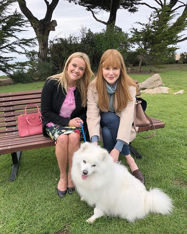 """Reese Witherspoon and Nicole Kidman introducing the cast's newest furry member, Jolly. <br><br> Image: [@reesewitherspoon](https://www.instagram.com/p/Bhee_cWnuDb/?taken-by=reesewitherspoon