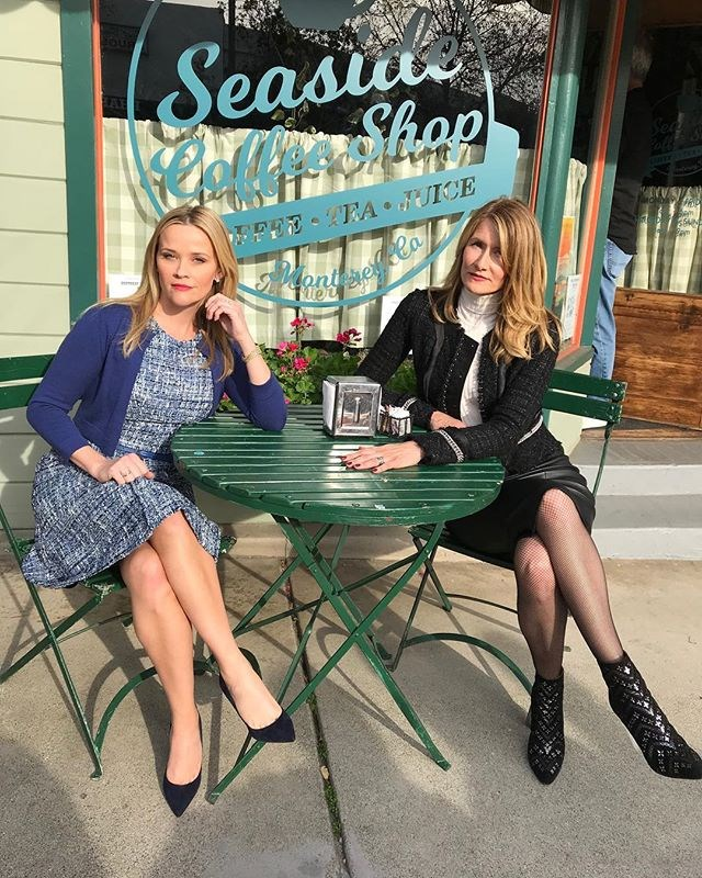 """Madeline (Reese Witherspoon) and Renata (Laura Dern) at their local Monterey cafe. <br><br> Image: [@reesewitherspoon](https://www.instagram.com/p/BghzhldBgIo/?taken-by=reesewitherspoon