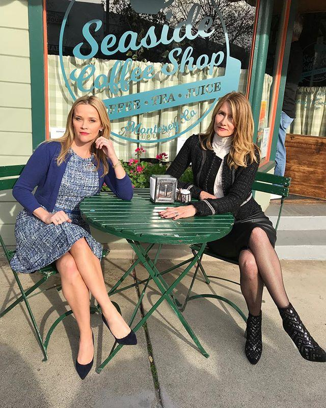 "Madeline (Reese Witherspoon) and Renata (Laura Dern) at their local Monterey cafe. <br><br> Image: [@reesewitherspoon](https://www.instagram.com/p/BghzhldBgIo/?taken-by=reesewitherspoon|target=""_blank"")"