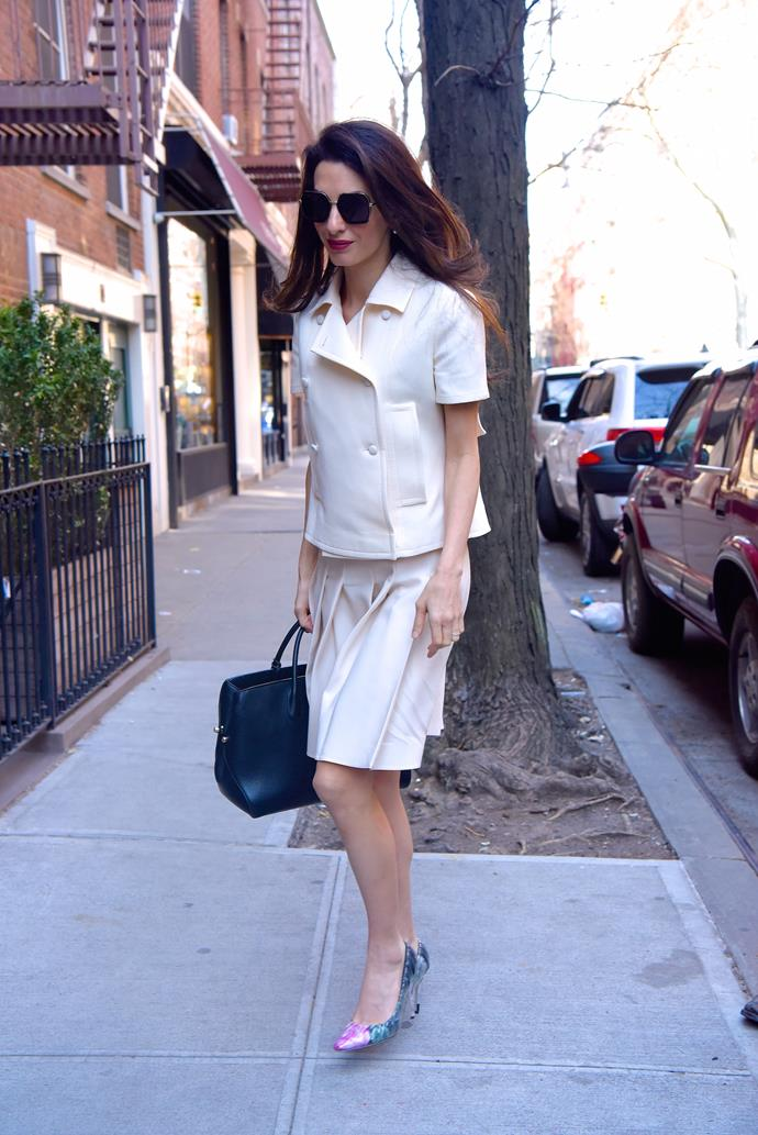 **What:** A white skirt suit and heels from the Jimmy Choo x Off-White collaboration. <BR><BR>  **When:** April 13th, 2018<BR><BR>  **Where:* New York City