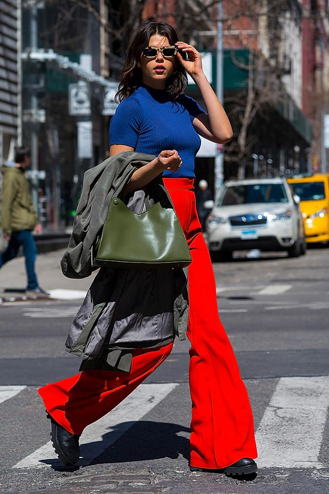 Colour-blocking on the streets of New York.