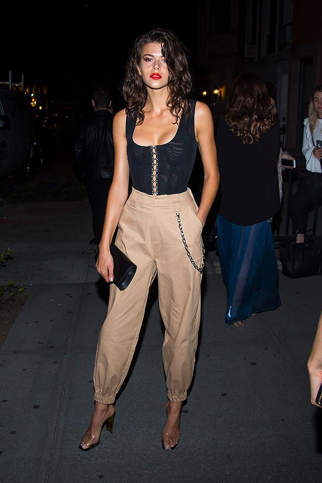 "Fowler wearing every model's [favourite pants from Aussie label I.Am.Gia](https://www.elle.com.au/fashion/models-obsessed-with-i-am-gia-cobain-pant-tan-15205|target=""_blank"")."