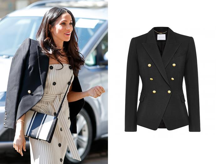 "At the Commonwealth Youth Forum on April 18, Meghan wore a Camilla and Marc ['Dimmer' Blazer](https://www.camillaandmarc.com/dimmer-blazer-ink.html|target=""_blank"")."