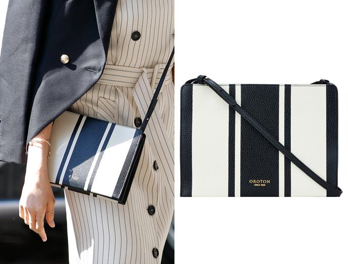 "At the Commonwealth Youth Forum on April 18, Meghan wore a Oroton [Avalon Zip Top Crossbody](https://www.oroton.com.au/avalon-zip-top-crossbody-rust-mix-osfa_1001574?siteID=TnL5HPStwNw-Eam2l3MLfehQZuZupxjJ3w|target=""_blank""