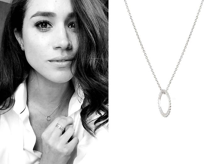 "In 2016, Meghan posted about this Natalie Marie Jewellery '[Dotted Oval Necklace](https://www.nataliemariejewellery.com/collections/necklaces/products/dotted-oval-necklace|target=""_blank""