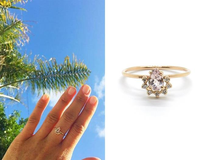 "In 2016, Meghan posted this Natalie Marie Jewellery Morganite '[Petite Rose ring](https://www.nataliemariejewellery.com/collections/stone-rings/products/rose-morganite|target=""_blank""