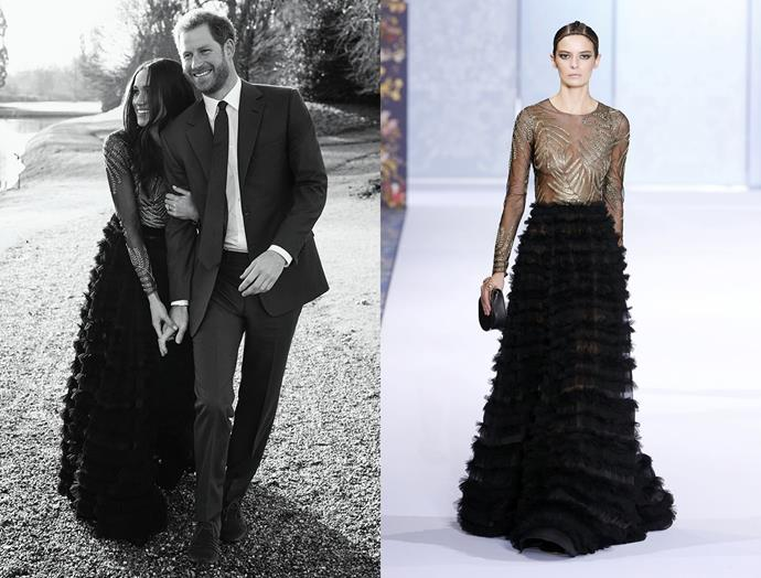 For her engagement portraits in early 2018, Meghan wore this dress with sheer bodice and ruffled skirt by Australian duo Ralph & Russo.