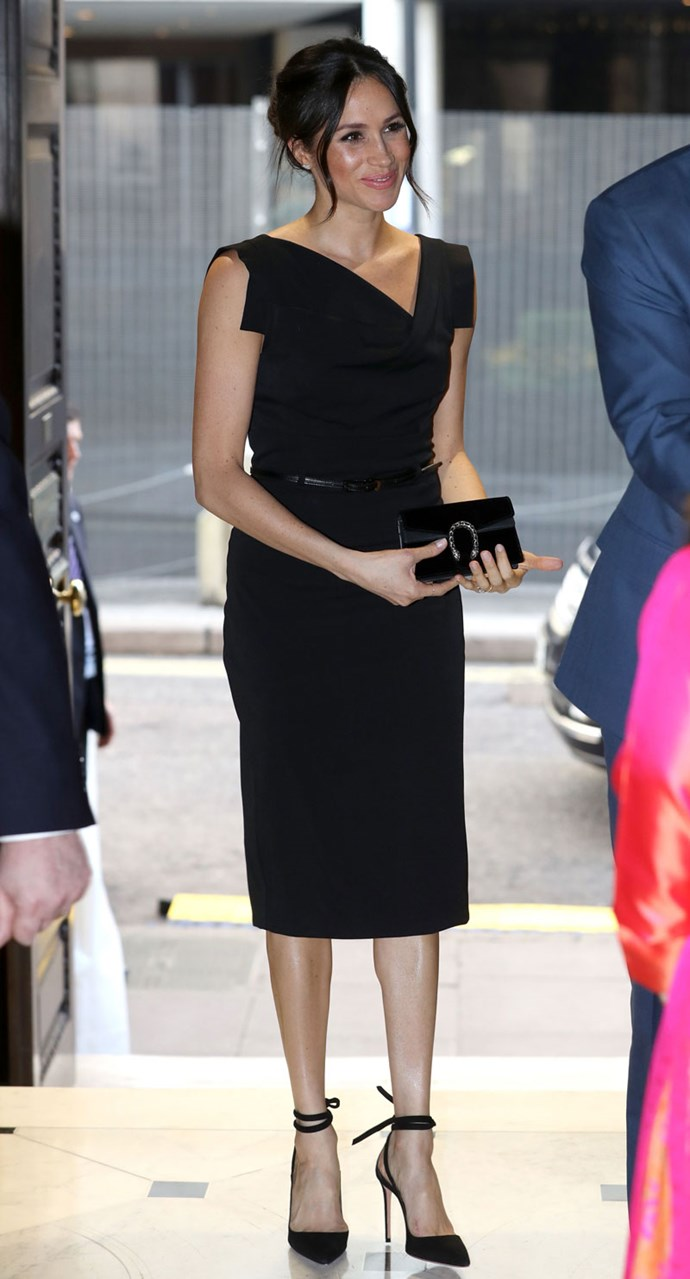 **2018**<br><br>  Meghan Markle attended a reception for Women's Empowerment at the Royal Academy Aeronautical Society for the fourth day of the Commonwealth Heads Of Government Meeting carrying the coveted Gucci Dionysus bag in black suede.