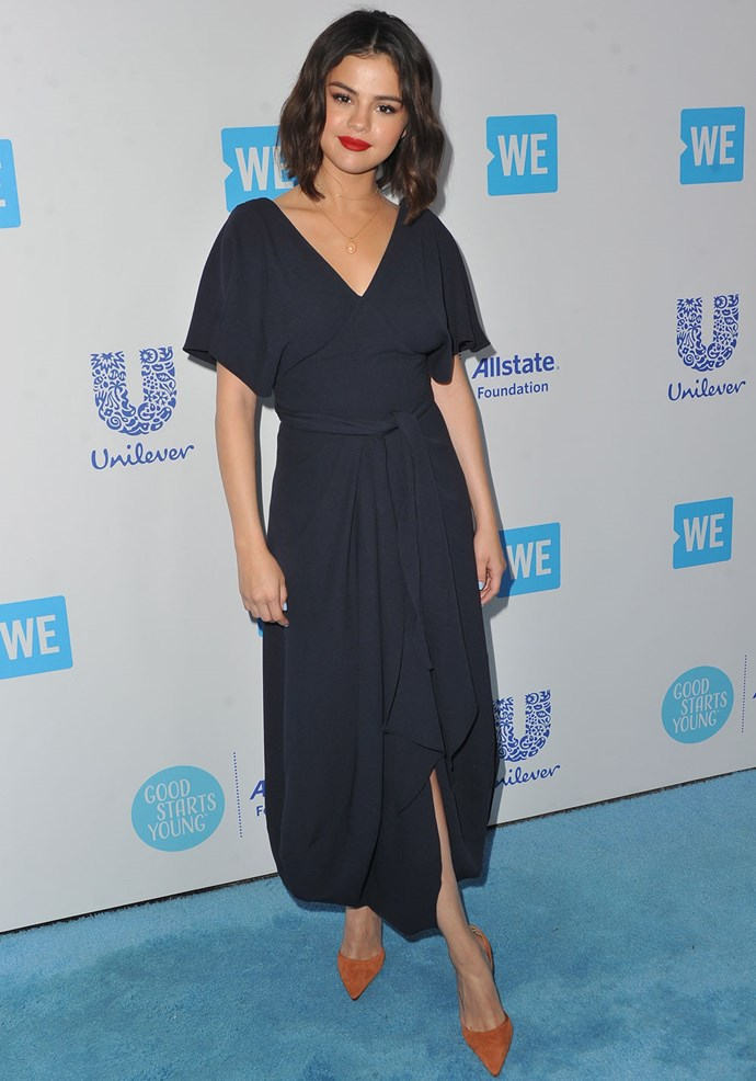 **April 19th, 2018**  Selena opted for full look from Jacquemus' Autumn/Winter 2018 collection for the WE Day event in California.