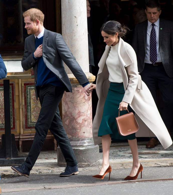 Markle in Greta Constantine's green skirt.
