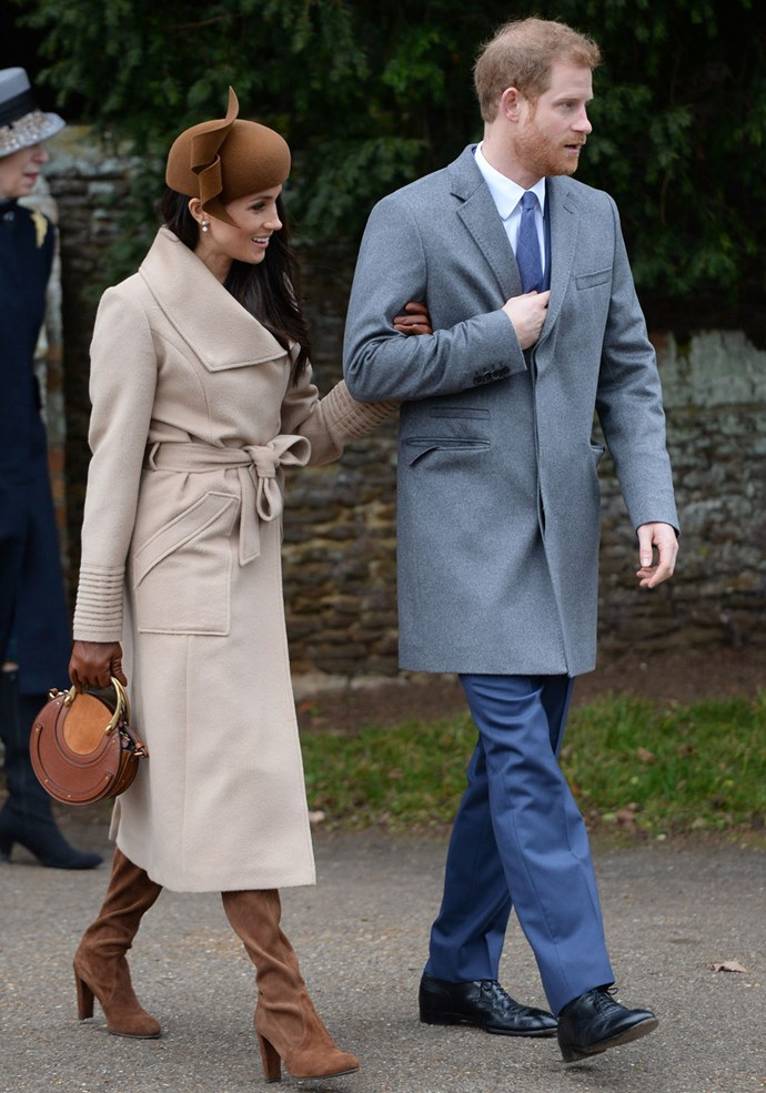 Markle in a Sentaler coat.