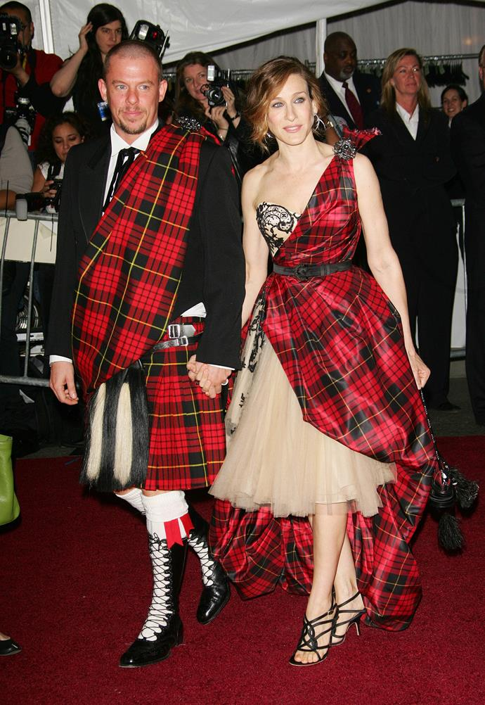 """<strong>Alexander McQueen and Sarah Jessica Parker in Alexander McQueen, 2006</strong><br><br> """"I think this is the most iconic Met Gala fashion moment of all time. It's a little heartbreaking in retrospect."""" - Grace O'Neill, digital fashion editor"""