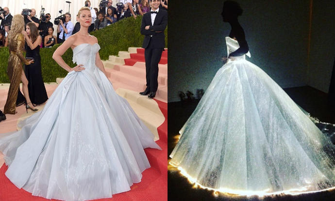 """**Clare Danes in Zac Posen**<br><br>  """"I don't usually go for gimmicky gowns -- but Zac Posen's light up, glow-in-the-dark dress for Claire Danes was iconic. The cut, the evenness of the LED lighting, Claire's no-accessory styling... legendary."""" - Mahalia Chang, digital features editor"""