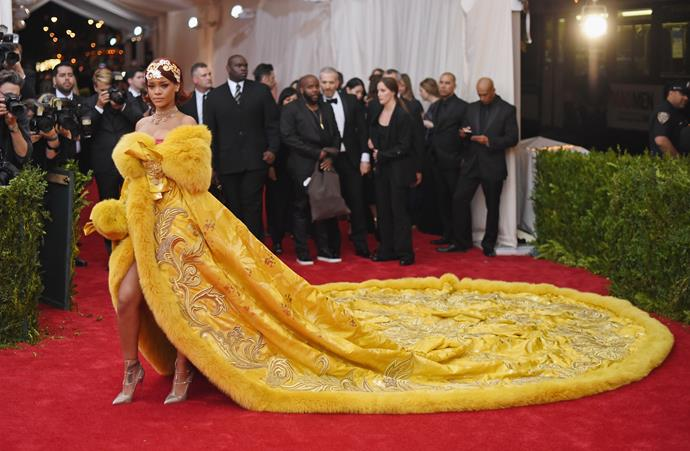 """**Rihanna in Guo Pei, 2015** <br><br> """"Rihanna managed to nail both the 'China: Through The Looking Glass' theme whilst bringing borderline-Belle to the (Met) ball."""" - Katie Stow, acting entertainment editor"""