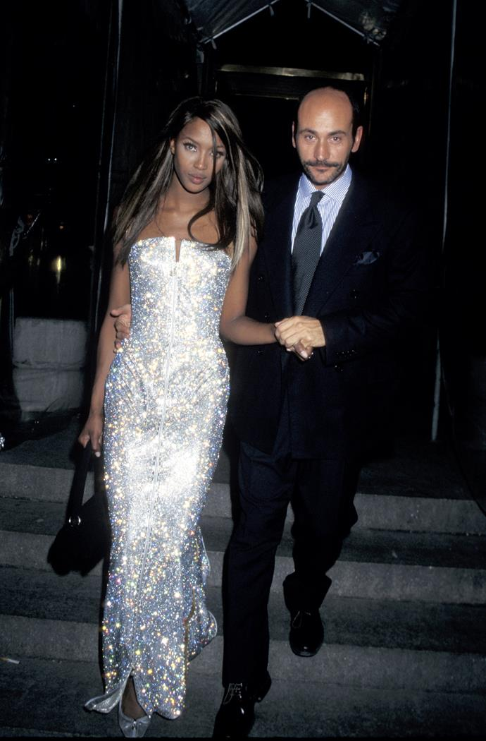 """**Naomi in Versace, 1995** <br><br> """"Naomi Campbell shut down the 1995 Met Gala in this dazzling silver strapless number which fits her supermodel physique perfectly."""" - Natasha Harding, digital fashion writer"""
