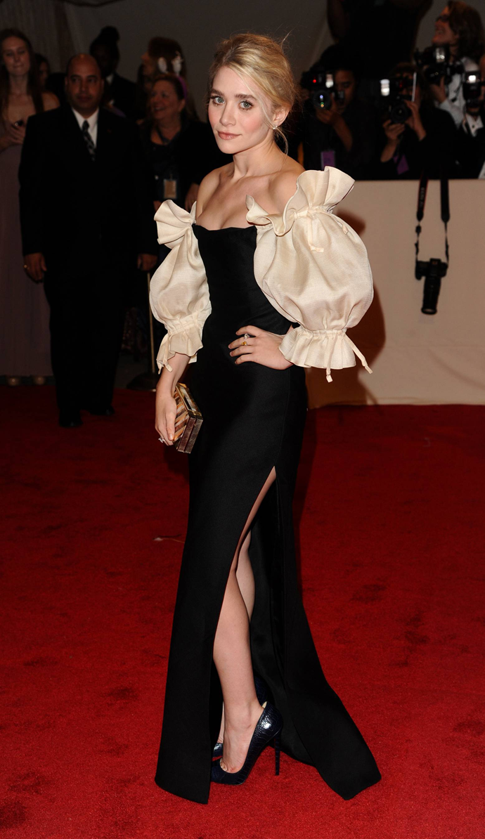 """**Ashley Olsen in Alexander McQueen, 2011**<br><br> """"I have to admit: I think about Ashley Olsen wearing this black-column-and-Victorian-sleeves McQueen gown at least once a week."""" - Mahala Chang, digital features editor"""