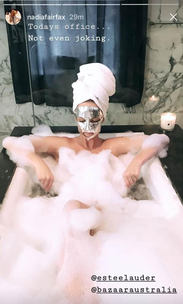 End-of-day ritual: jumping in a bath and putting a mask on.