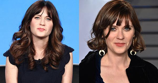 **Zooey Deschanel** <br><br> Actress and singer Zooey Deschanel cut inches off her signature brunette curls, debuting the bob on the red carpet at the *Vanity Fair* Oscars After Party.