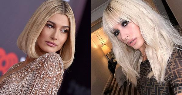 """**Hailey Baldwin** <br><br>  Baldwin's hair stylist Jennifer Yepez shared this shot to Instagram in February with the caption """"New lewk"""". However, Baldwin landed in Coachella a month later with her normal honey blonde bob—so chances are this platinum look was a wig."""