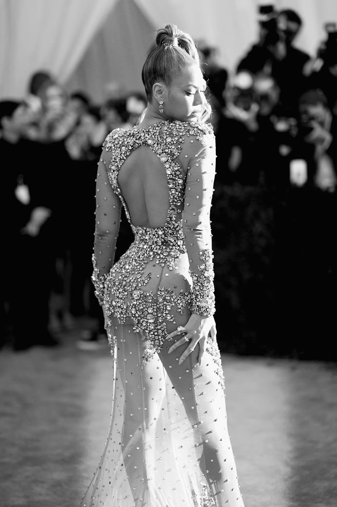 """**2015: BEYONCÉ'S LAST-MINUTE HAIR CHANGE** <br><br> While Beyoncé looked undoubtedly ethereal at the 2015 gala in Givenchy by Riccardo Tisci, her voluminous high-pony was definitely *not* part of the original look; and almost resulted in her missing the gala altogether.  <br><br> Reportedly, Ms. Carter [decided against her original hairstyle](http://www.latimes.com/entertainment/gossip/la-et-mg-beyonce-met-gala-last-minute-change-20150513-story.html