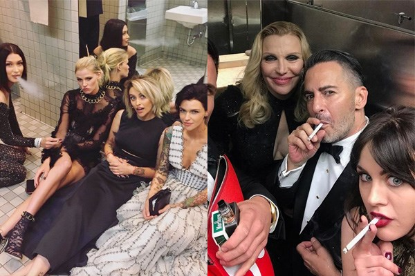 """**2017: BATHROOM SMOKING** <br><br> *Yes*, even celebutante Met Gala attendees can face condemnation from New York City health authorities.  <br><br> The 2017 gala saw celebrities flood social media with footage of themselves smoking in the Metropolitan Museum's bathrooms; leading to outrage from New York City health commissioner Dr. Mary Bassett. All celebrities involved were served with [a legal letter](https://www.harpersbazaar.com.au/celebrity/met-gala-smokers-served-by-ny-health-department-5608 target=""""_blank"""") condemning their behaviour, which also threatened the patrolling of future Met Galas by New York City authorities.  <br><br> Bassett also said, """"When young people see glamorous stars smoking and flouting the law, it undermines the progress that has been made in de-normalising smoking and increasing awareness of smoking's health risks."""" <br><br> *Images: [Instagram](https://www.instagram.com/p/BTklWvjFUfI/?utm_source=ig_embed target=""""_blank"""" rel=""""nofollow"""") & [Twitter](https://twitter.com/victuuris95/status/859335884373712896/photo/1?tfw_site=TheCut&ref_src=twsrc%5Etfw&ref_url=https%3A%2F%2Fwww.thecut.com%2F2017%2F05%2Fmet-gala-museum-smoking-page-six.html target=""""_blank"""" rel=""""nofollow"""")*"""