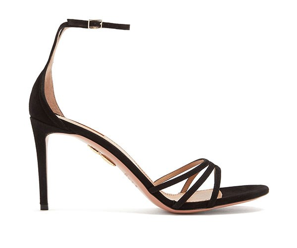 """Aquazzura Very Purist Ankle-Tie Suede Sandals, $590, at [Matches Fashion](https://www.matchesfashion.com/au/products/Aquazzura-Very-Purist-ankle-tie-85mm-suede-sandals-1196499