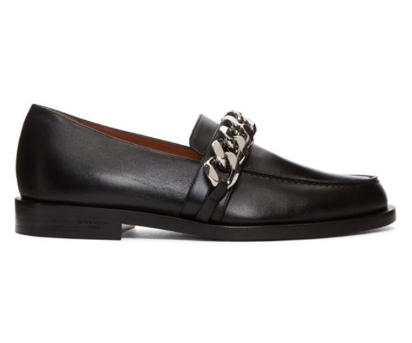 """Givenchy Black Chain Line Loafers, approx. $1,176, at [Ssense](https://www.ssense.com/en-us/women/product/givenchy/black-chain-line-loafers/2796708
