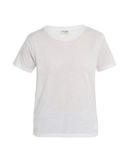 "Saint Laurent Logo-Appliqué Sheer Cotton-Jersey T-Shirt, $475, at [Matches Fashion](https://www.matchesfashion.com/au/products/Saint-Laurent-Logo-appliqu%C3%A9-sheer-cotton-jersey-T-shirt-1187936|target=""_blank"")."