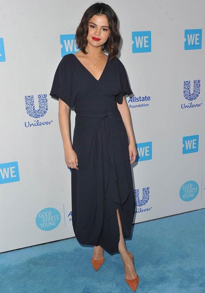 Selena Gomez at the WE Day event in California in April 2018.