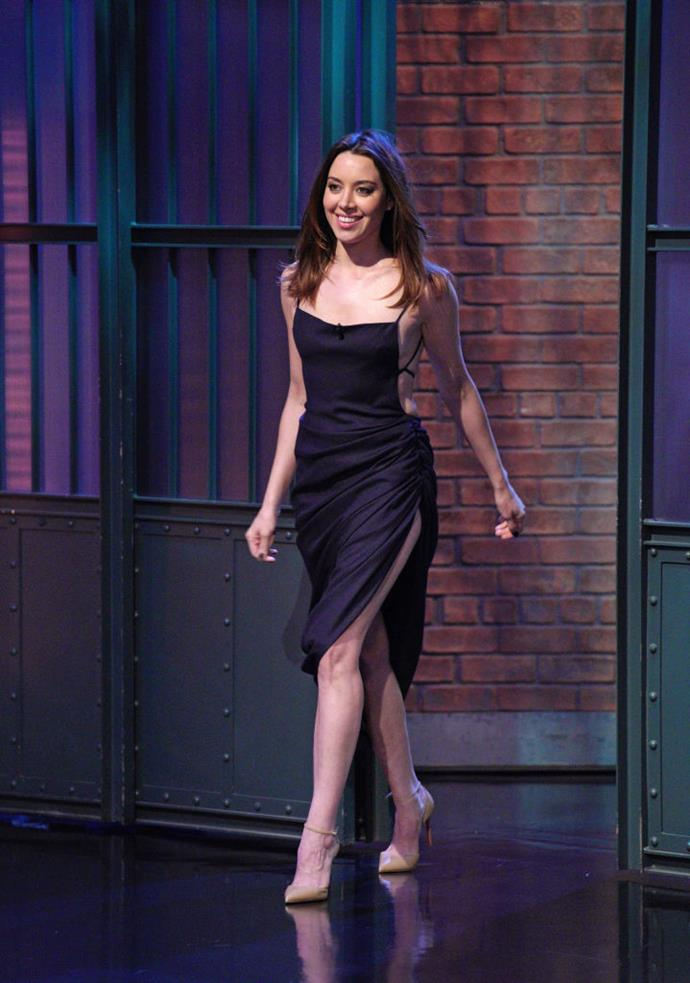 Aubrey Plaza on Late Night with Seth Meyers in April 2018.