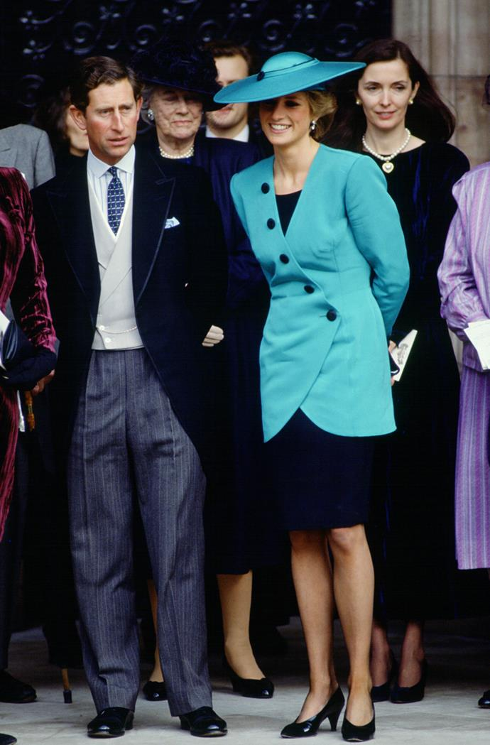 Princess Diana and Prince Charles, Prince William at Camilla Dunne's wedding in 1988.