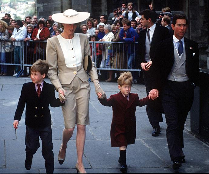 Princess Diana, Prince Charles, Prince William and Prince Harry at the Duke of Hussey's daughter's wedding in 1989.